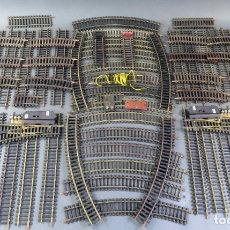 Trenes Escala: LOTE VÍAS TREN LIMA H0 VARIOS TAMAÑOS CURVAS RECTAS DESVÍOS TRAMOS CORTOS. Lote 176272509