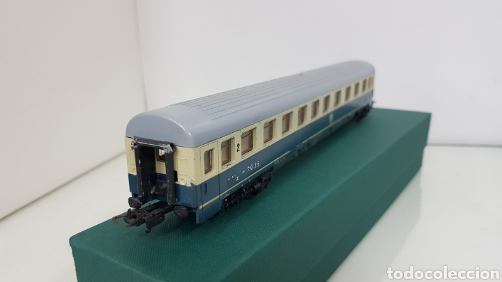 Trenes Escala: Lima vagón de segunda clase y primera de la de B alemana verde y crema de 27 cm escala H0 corriente - Foto 5 - 181488856