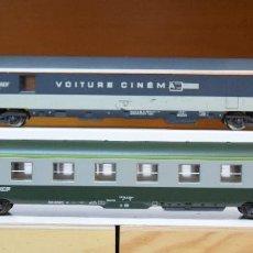 Trenes Escala: LIMA H0 COCHE CINEMA CORAIL Y COCHE DEV 2ª CLASE, AMBOS DE LA SNCF, REFERENCIAS 309213 Y 309369.. Lote 199846803
