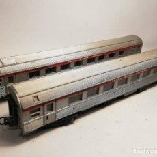 Trenes Escala: LIMA. ESCALA H0. 2 VAGONES COCHES PASAJEROS TRANS EUROP EXPRESS. AÑOS 60 CON FALTAS. Lote 208669663