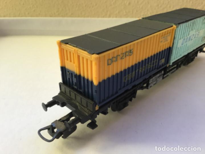 Trenes Escala: Lima H0. Vagón mercancías borde bajo contenedores Danzas Gentransco. Precioso - Foto 3 - 214860416