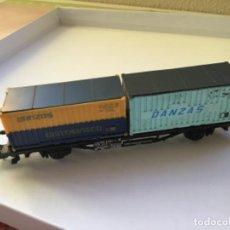 Trenes Escala: LIMA H0. VAGÓN MERCANCÍAS BORDE BAJO CONTENEDORES DANZAS GENTRANSCO. PRECIOSO. Lote 214860416