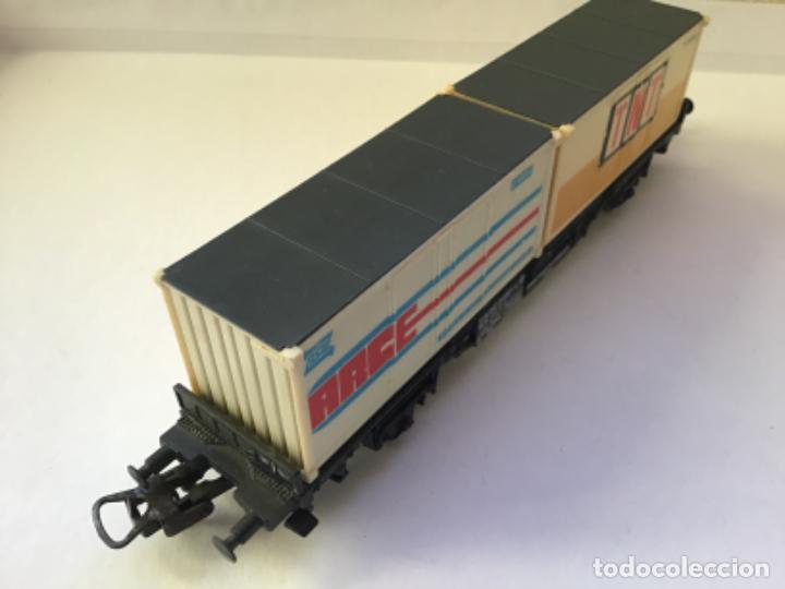 Trenes Escala: Lima H0. Vagon mercancías borde bajo contenedores tnt y race. Precioso - Foto 2 - 214860660