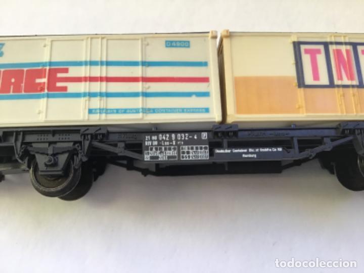 Trenes Escala: Lima H0. Vagon mercancías borde bajo contenedores tnt y race. Precioso - Foto 4 - 214860660