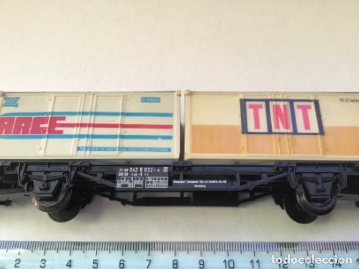 Trenes Escala: Lima H0. Vagon mercancías borde bajo contenedores tnt y race. Precioso - Foto 5 - 214860660