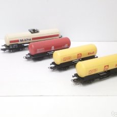Trenes Escala: JIFFY VENDE 4 VAGONES LIMA H0. TANQUE CISTERNA SHELL MOBIL ESSO RED MOBILOIL ESSORED.. Lote 247515910