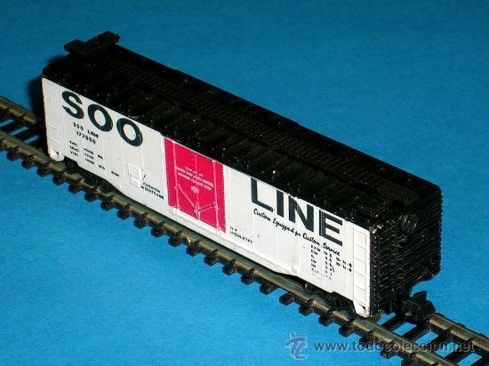Trenes Escala: Vagón americano mercancías 4 ejes, Cª SOO LINE, Lima esc. N, original años 70. - Foto 3 - 32597145