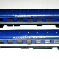 Trenes Escala: 2 COCHES PASAJEROS PULLMAN / COACH, Cª AMERICANA CHESAPEAKE AND OHIO, LIMA ESC. N, AÑOS 70-80.. Lote 73971615