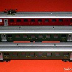 Trenes Escala: COMPOSICIÓN 3 COCHES FERROCARRILES SUIZOS SBB CFF SUIZA, LIMA ESC. N, ORIGINALES AÑOS 70-80.. Lote 75835827