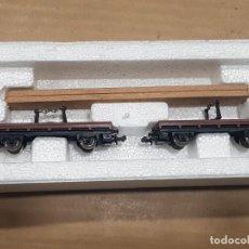 Trenes Escala: VAGÓN DOBLE TELERO CON PLANCHAS CON CAJA. Lote 233845970