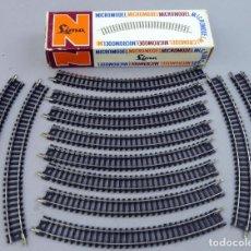 Trenes Escala: 12 TRAMOS VÍAS CURVAS 571 TREN LIMA N EN CAJA REF 511 MADE IN ITALY. Lote 295460283