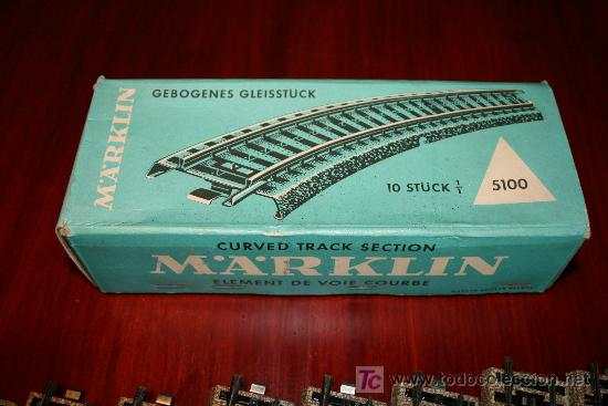 MARKLIN - CAJA CON DIEZ TRAMOS DE VIA CURVA - REF. 5100 (Juguetes - Trenes a Escala - Marklin H0)