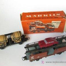 Trenes Escala: DOS VAGONES MARKLIN HO DE TRANSPORTE DE COCHES Y BARRILES. Lote 20054728
