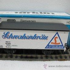 Trenes Escala: MARKLIN H0 REF: 4680 - VAGON CERVECERO (SCHWABENBRÄU) CON CABINA - DR - ESCALA H0. Lote 27793073