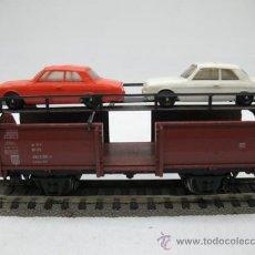 Trenes Escala: MARKLIN VAGON DE MERCANCIAS CON DOS AUTOS,ESCALA H0.. Lote 27926773