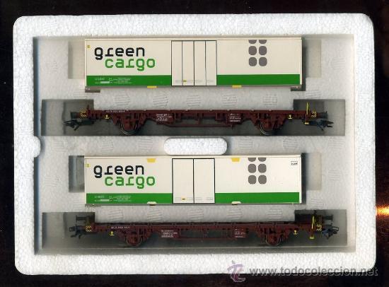 MARKLIN 47722 - 2 VAGONES - SUECIA SJ 443 0 410 Y 820 - CONTENEDORES GREEN CARGO - TREN FERROCARRIL (Juguetes - Trenes a Escala - Marklin H0)