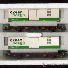 Trenes Escala: MARKLIN 47722 - 2 VAGONES - SUECIA SJ 443 0 410 Y 820 - CONTENEDORES GREEN CARGO - TREN FERROCARRIL. Lote 31126326