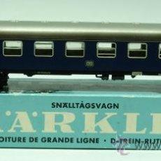 Trenes Escala: VAGÓN PASAJEROS MARKLIN TREN H0 REF 4027 CON CAJA AÑOS 60. Lote 33535982