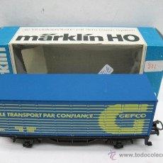 Trenes Escala: MARKLIN REF: 8448110 - VAGÓN DE MERCANCÍAS CERRADO LE TRANSPORT PAR CONFIANCE GEFCO - ESCALA H0. Lote 50120348