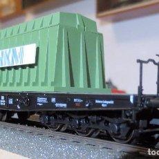 Trenes Escala: MARKLIN 48668. VAGON PLATAFORMA CON DOMO TERMICO CON CARGA ACERO INCANDESCENTE. Lote 105214987
