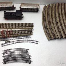 Trenes Escala: TREN MARKLIN - LOCOMOTORA Y DOS VAGONES ESCALA HO - SIN CAJA. Lote 121915087