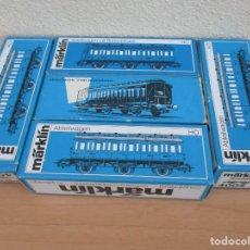 Trenes Escala: MARKLIN CONVOY PRUSIANO DE DE 5 VAGONES 2ª DEPARTAMENTOS DE TRES EJES REF; 4004 Y 4005 VER FOTOS. Lote 143123326
