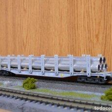 Trenes Escala: MARKLIN H0 VAGÓN DE TELEROS CARGADO CON TUBOS DE ALUMINIO ALUSUISSE, DE LOS SBB, REFERENCIA 47715.. Lote 143341198