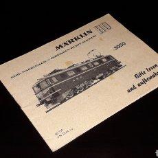 Trenes Escala: MANUAL INSTRUCCIONES LOCOMOTORA 3050, MÄRKLIN H0, VARIOS IDIOMAS INCLUIDO ESPAÑOL, ORIGINAL AÑOS 60.. Lote 151822846