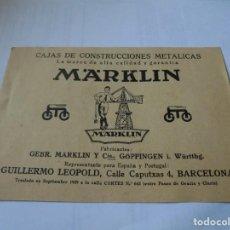 Trenes Escala: MAGNIFICA TARJETA PUBLICITARIA DE MARKLIN DEL 1929. Lote 160964510