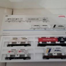 Trenes Escala: MARKLIN H0 47681 SET 4 VAGONES CONTAINER TRANSPORTE NUEVO OVP. Lote 175027858