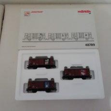Trenes Escala: MÄRKLIN H0 48789 SET 3 VAGONES DE CARGA NUEVO OVP. Lote 175073145