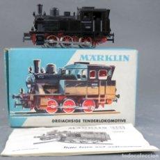 Trenes Escala: LOCOMOTORA VAPOR TENDER MARKLIN H0 CON INSTRUCCIONES Y CAJA REF 3029 NO FUNCIONA. Lote 176001869