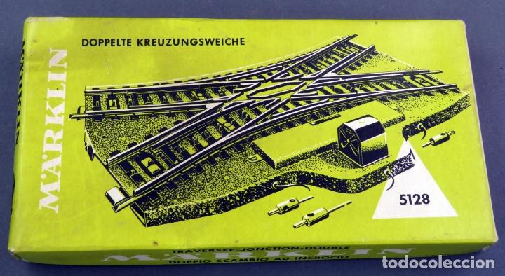 Trenes Escala: Cruce vías transversal Marklin H0 eléctrico Ref 5128 con instrucciones y caja - Foto 2 - 176079584