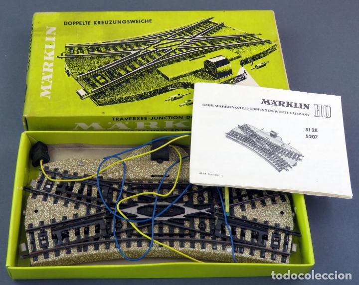 CRUCE VÍAS TRANSVERSAL MARKLIN H0 ELÉCTRICO REF 5128 CON INSTRUCCIONES Y CAJA (Juguetes - Trenes a Escala - Marklin H0)