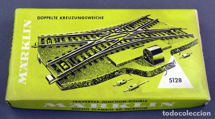 Trenes Escala: Cruce vías transversal Marklin H0 eléctrico Ref 5128 con caja - Foto 2 - 176079658