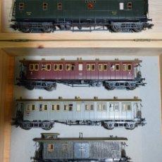 Trenes Escala: MARKLIN H0 COMPOSICIÓN DE 2 COCHES Y 2 FURGONES, DE LA K.W.ST.E, REFERENCIAS 4229, 4213, 4214 Y 4212. Lote 180008620