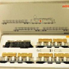 Trenes Escala: MARKLIN 26532 CONJUNTO LOCOMOTORA+PLATAFORMAS MADERA. Lote 184186555