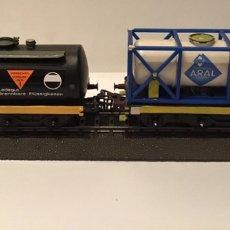 Trenes Escala: JIFFY VENDE VAGONES MARKLIN H0 TRES EJES CISTERNA NEGRA Y TANQUE ARAL. ÚNICOS. ELABORACIÓN ARTESANAL. Lote 185755391