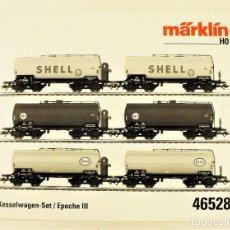 Trenes Escala: MARKLIN 46528 SET DE 6 CISTERNAS SHELL,DEA Y ESSO. Lote 187378328