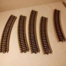 Trenes Escala: LOTE DE 5 VÍAS CURVAS MARKLIN H0 METAL.. Lote 189633873