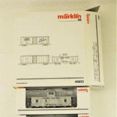 Trenes Escala: MARKLIN 45652 SET DE 3 VAGONES DE CARGA AMERICANOS UNION PACIFIC. Lote 190081852