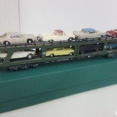 Trenes Escala: MARKLIN VAGÓN LARGO DE MERCANCÍAS DE COCHES CHARACTER 0 CORRIENTE ALTERNA 26 CMS VERDE. Lote 194064485