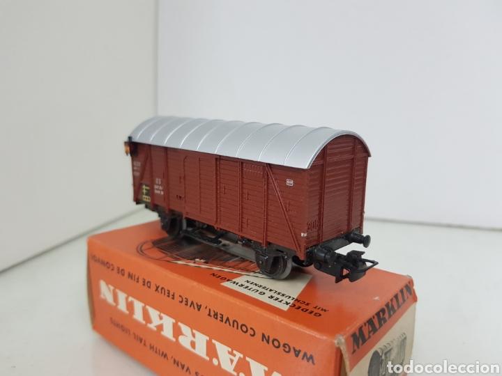 Trenes Escala: Marklin 4506 vagón de mercancías de plástico con luz de color marrón y 11 cm corriente alterna - Foto 5 - 195210401