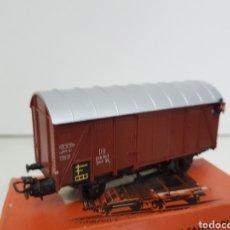 Trenes Escala: MARKLIN 4506 VAGÓN DE MERCANCÍAS DE PLÁSTICO CON LUZ DE COLOR MARRÓN Y 11 CM CORRIENTE ALTERNA. Lote 195210401