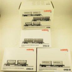 Trenes Escala: MARKLIN 47456 SET DE PLATAFORMAS CONTENEDORES DE LA SBB. Lote 196931292