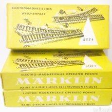 Trenes Escala: 3 CAJAS CON 5 DESVIOS EN TOTAL MARKLIN 5117 H0 VIA M. EXCELENTE ESTADO. Lote 199331086