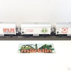 Trenes Escala: 3 VAGONES MARKLIN H0. NUEVOS SIN CAJA. HILFE BUNTE QUICK ONG. Lote 201249347
