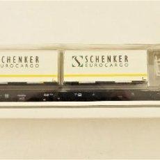 Trenes Escala: MARKLIN 47041 PLATAFORMA PORTA CONTENEDORES DE SCHENKER DE LA DB. Lote 209014142