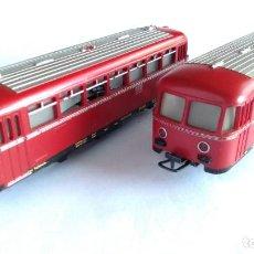 Trenes Escala: MARKLIN H0 LOTE DE AUTOMOTOR MOTORIZAD+ COCHE. CON LUZ, FUNCIONAN. Lote 211600064