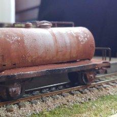 Trenes Escala: CISTERNA MARKLIN H0 HO ENVEJECIDA Y BARNIZADA KESSELWAGEN RUSTED FALTAN TOPES. Lote 219422010